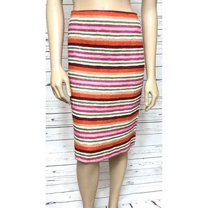 Talbots Linen Striped Orange Pink Pencil Skirt 16